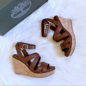 Timberland Danforth Brown Leather Wedge Sandals